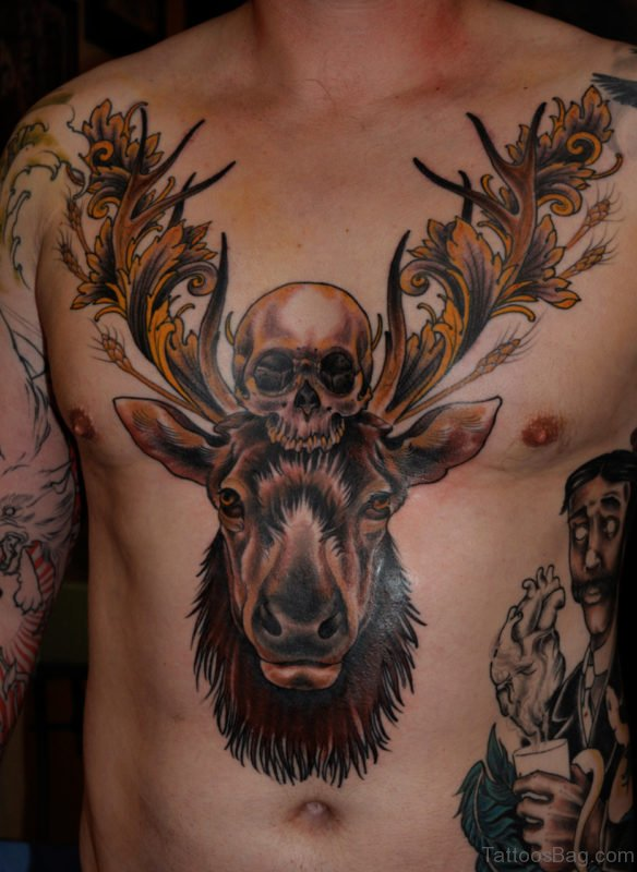 Deer And Skull Tattoo On Chest