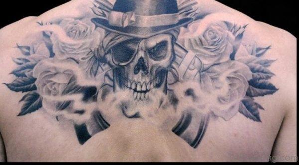 Deer Skull Tattoo On Upper Back