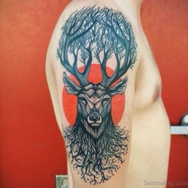 Deer Tattoo Design On Shoulder