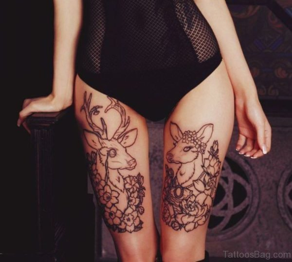 Deer Tattoo Design On Thigh