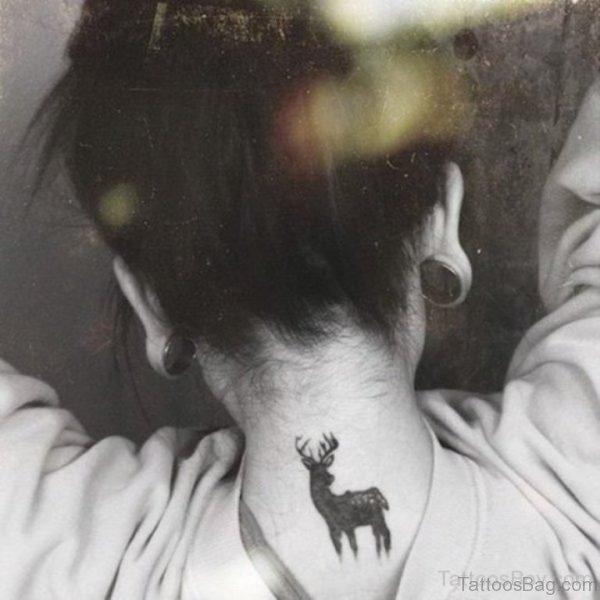 Deer Tattoo On Nape