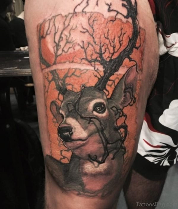 Deer Tattoo On Thigh