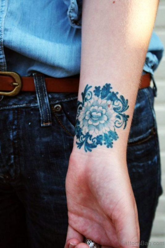 Delfts Blauw Flower Tattoo Design On Wrist