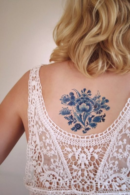 Delfts Blauw Flower Tattoo On Back