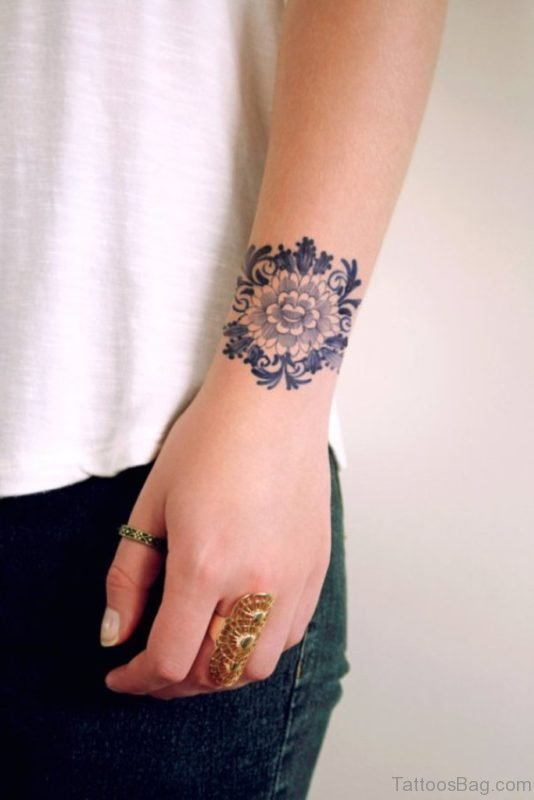 Delfts Blauw Flower Tattoo On Wrist
