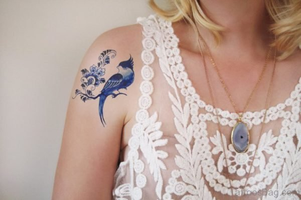 Delfts Blauw Tattoo On Shoulder
