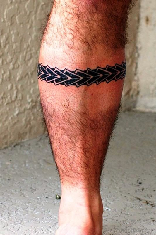 Delightful Band Tattoo On Leg