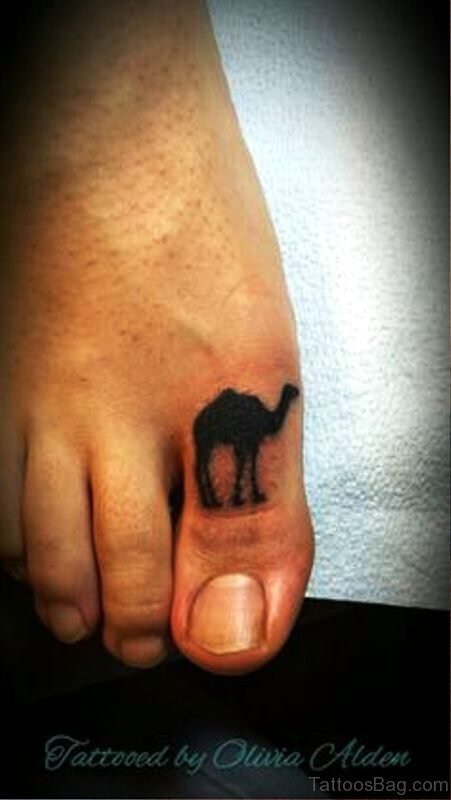 Delightful Camel Tattoo On Toe
