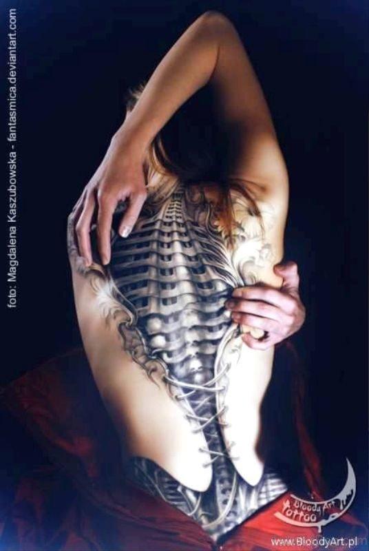 Delightful Corset Tattoo On Full Back