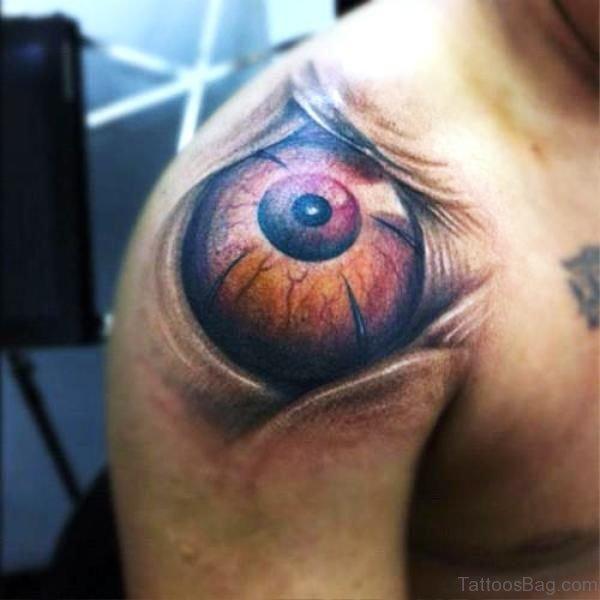Delightful Eye Tattoo On Shoulder