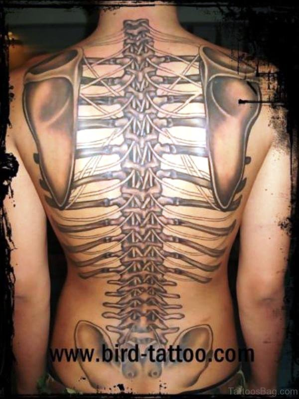 Delightful Skeleton Tattoo On Back