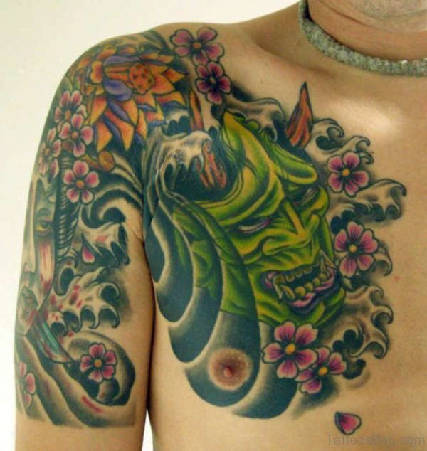 Demon Mask n Flowers Tattoo On Chest