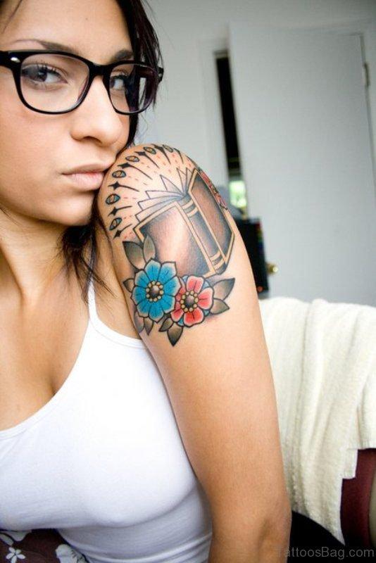 Designer Book Tattoo On Shoulder