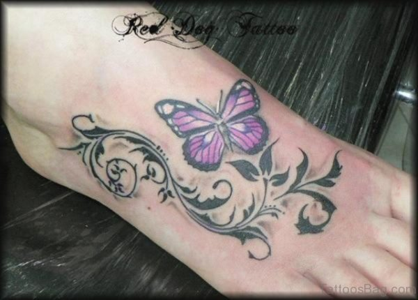 Designer Butterfly Tattoo On Foot
