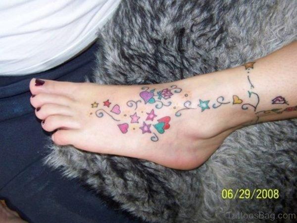 Designer Colored Star Tattoo