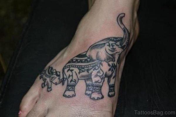 Designer Elephant Tattoo On Foot