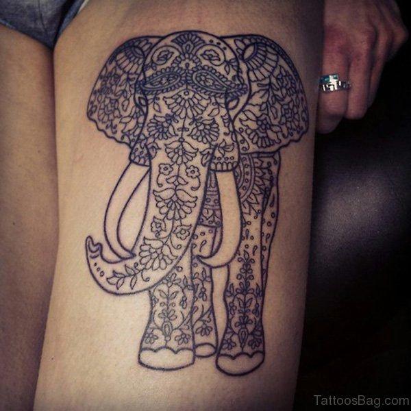 Designer Elephant Tattoo On Thigh