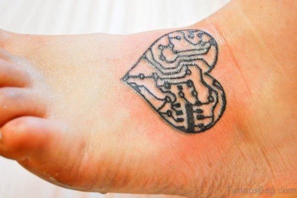 Designer Heart Tattoo On Foot