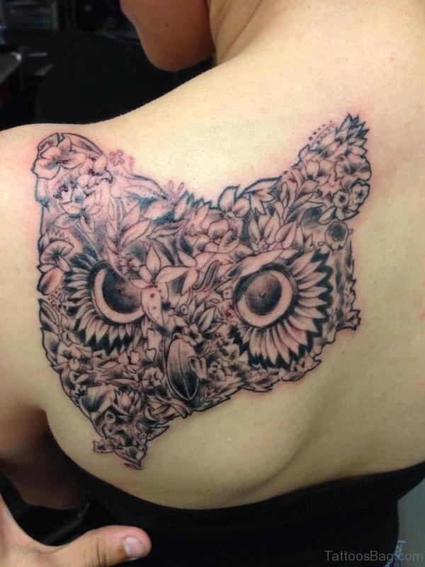 Designer Owl Tattoo On Shoulder