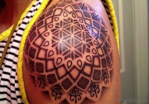 Designer Tattoo On Left Shoulder