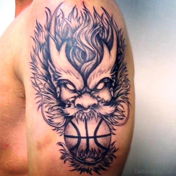 Devil And Basketball Tattoo On Shoulder