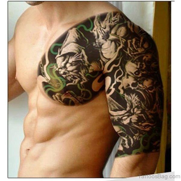 Devil Font Tattoo On Shoulder