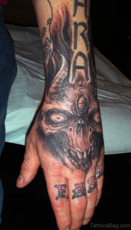 Devil Skull Tattoo On Hand