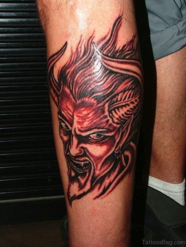 Devil Tattoo On Leg