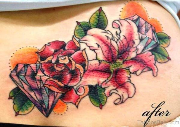 Diamond And Flowers Tattoo