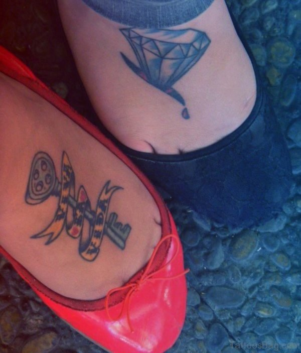 Diamond And Key Tattoo