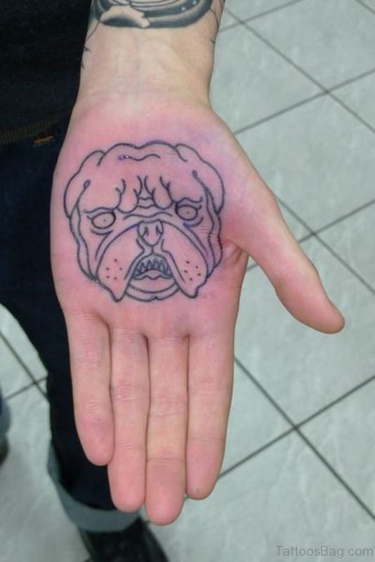 Dog Face Tattoo On Hand