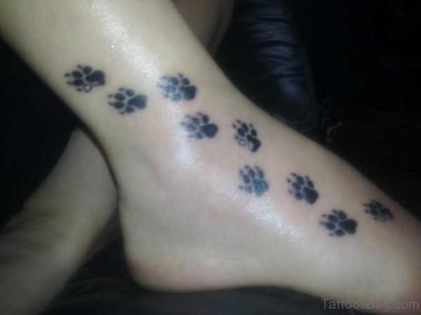 Dog Paw Tattoo On Ankle