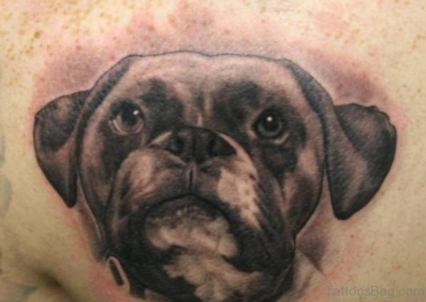 Dog Portrait Tattoo On Chest