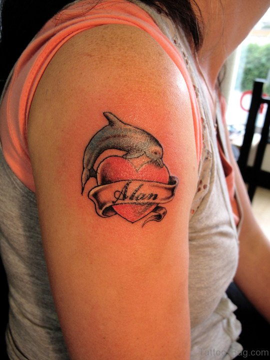 Dolphin Fish Tattoo On Shoulder