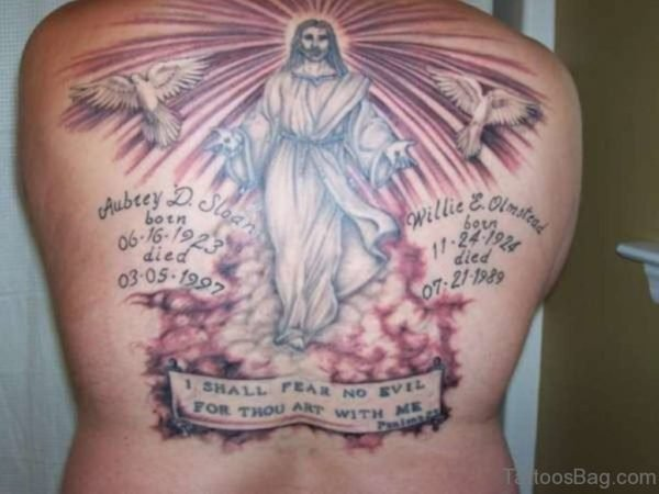 Dove And Jesus Tattoo On Back