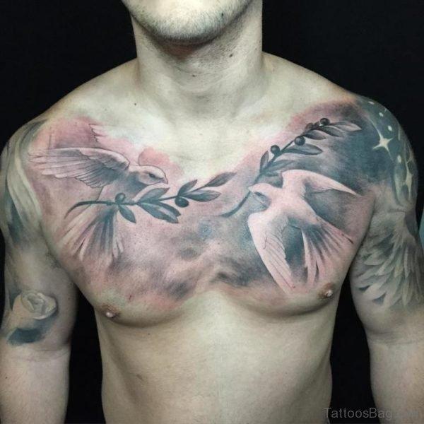 Dove Tattoo Design on Chest