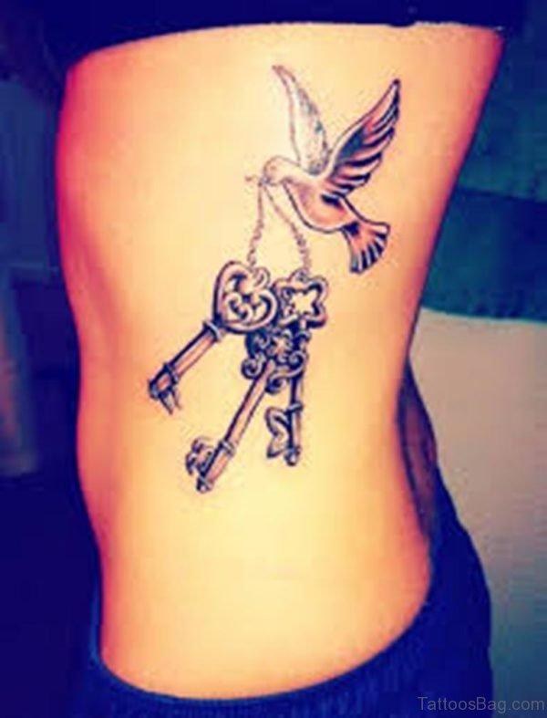 Dove and Key Tattoo