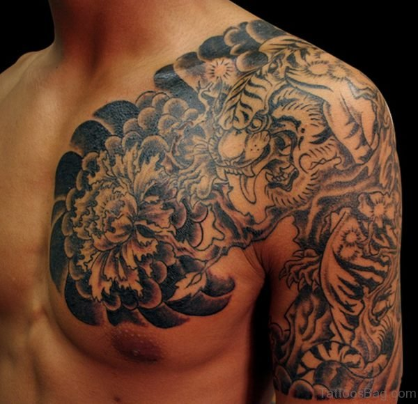 Dragon And Tiger Tattoo On Chest