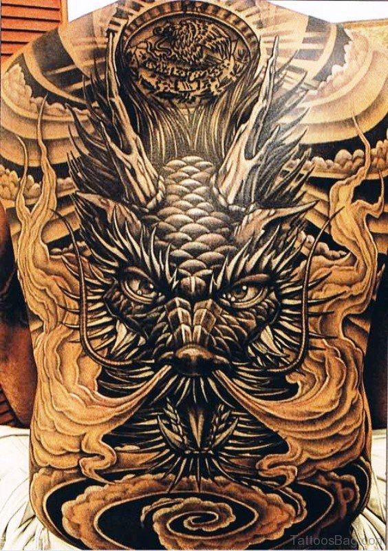 Dragon Face Tattoo On Back