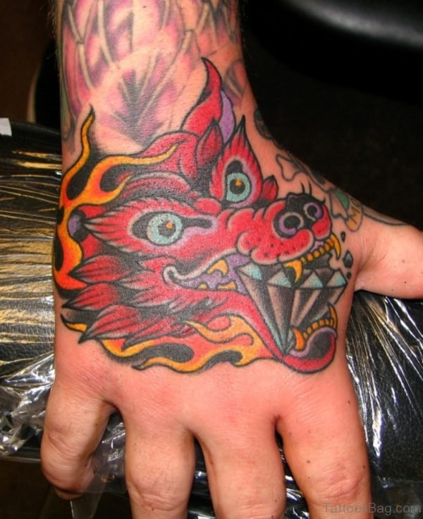 Dragon Face Tattoo On Hand
