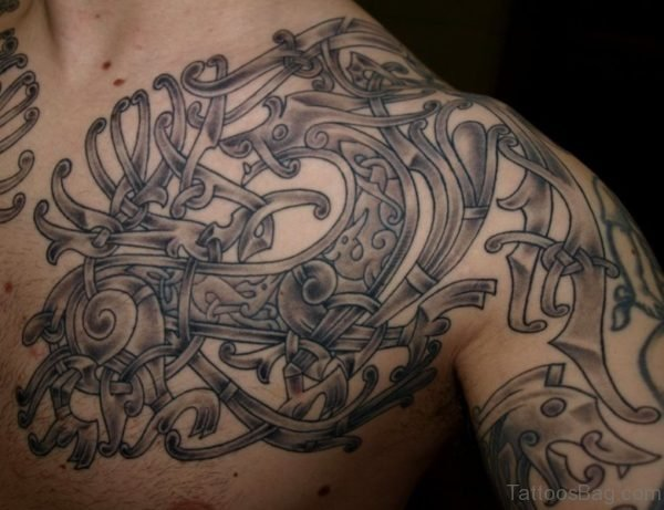 Dragon Nordic Tribal Shoulder Tattoo