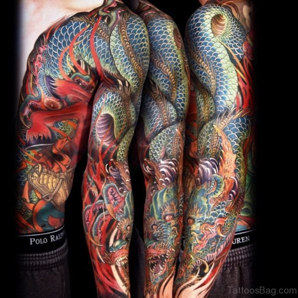 Dragon Tattoo Design On Full Sleeve