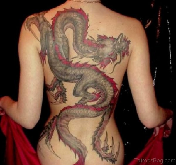 Awesome Dragon Tattoo On Back