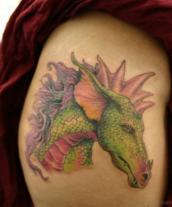 Dragon Tattoo On Thigh