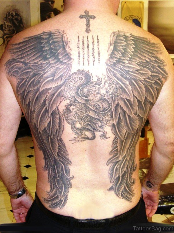 Dragon With Angel Wings Tattoo On Back