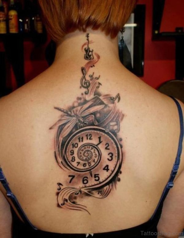 Dragonfly And Clock Tattoo On Back