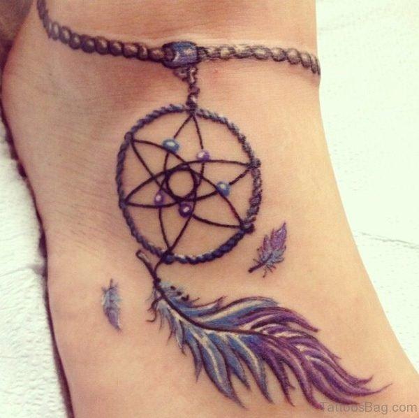 Dreamcatcher Tattoo Design On Foot