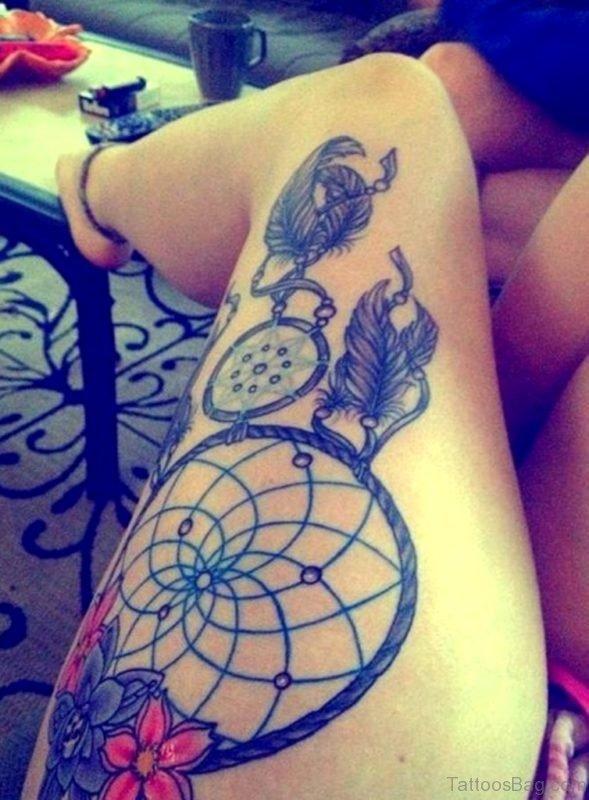 Dreamcatcher Tattoo Design On Thigh
