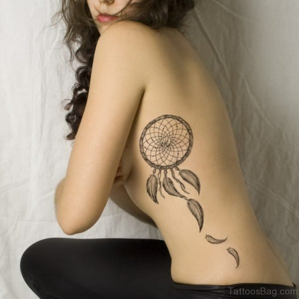 Dreamcatcher Tattoo On Rib