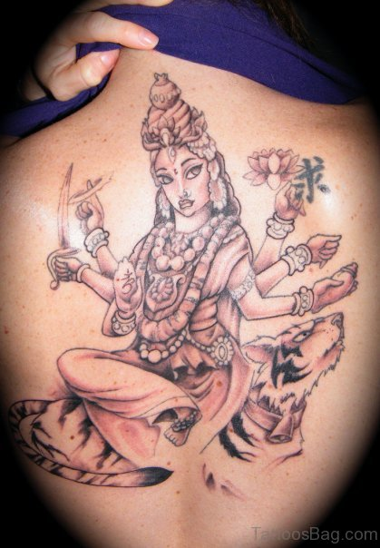 Durga Tattoo On Back BOdy